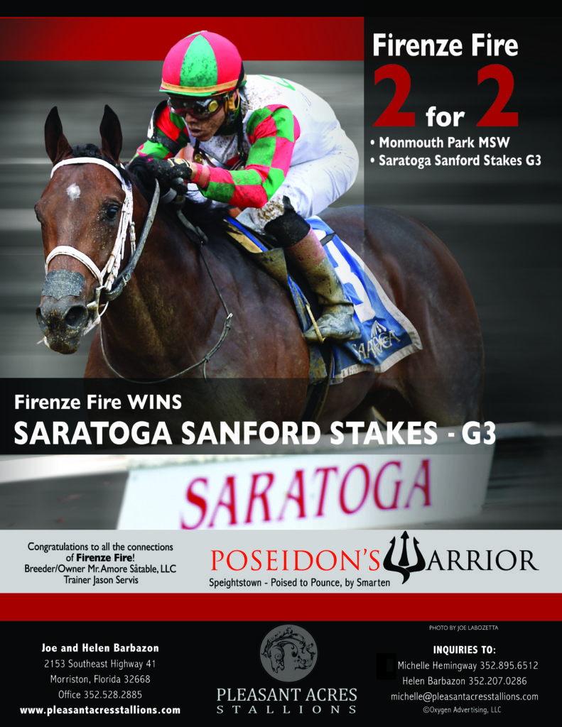 Firenza Fire WINS Saratoga Sanford Stakes G3